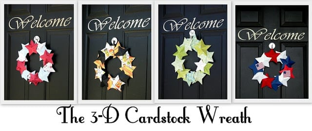 4 versions of paper star wreath