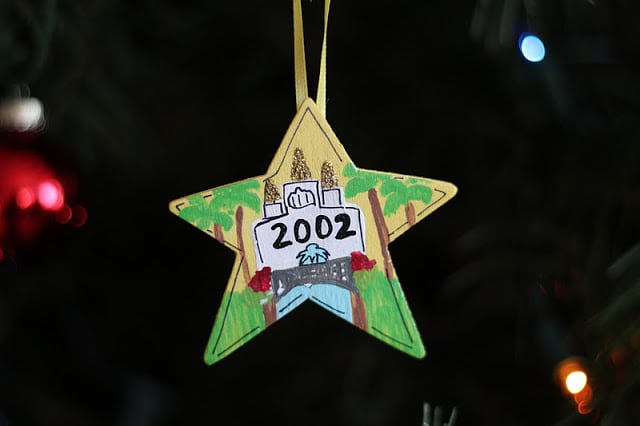 wood star ornament painted with date