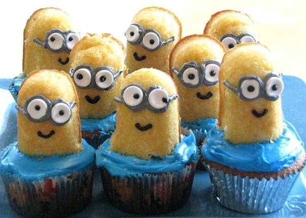 platter of Twinkie minion cupcakes