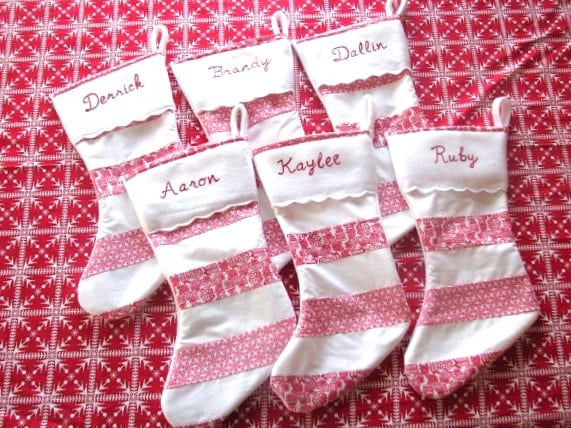 6 matching family stockings