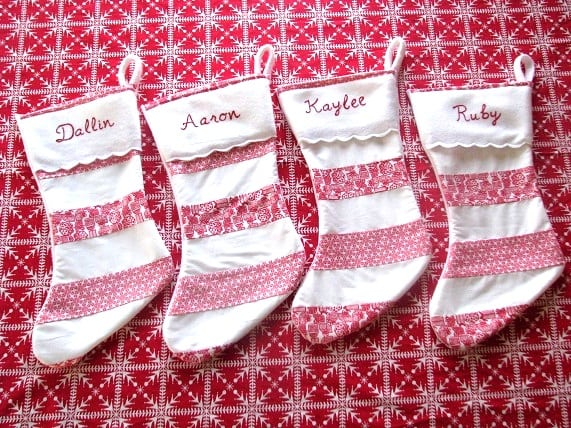 matching striped stockings with felt cuff