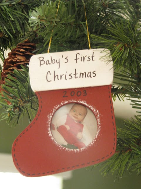 baby's first christmas stocking ornament