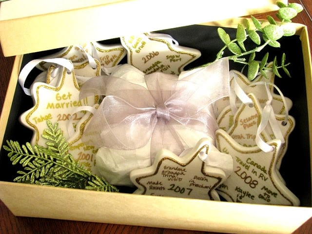 box full of personalized ornaments
