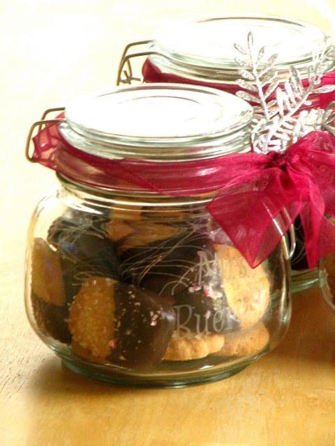 danish cookies in acid etched jar