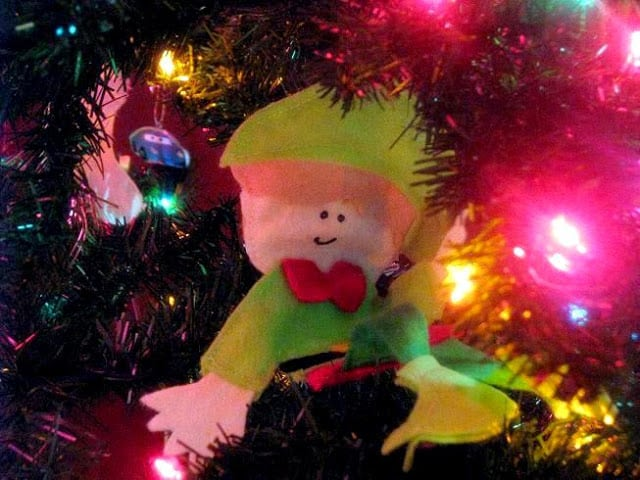 elf in christmas tree