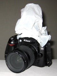 flash on camera covered by white tissue