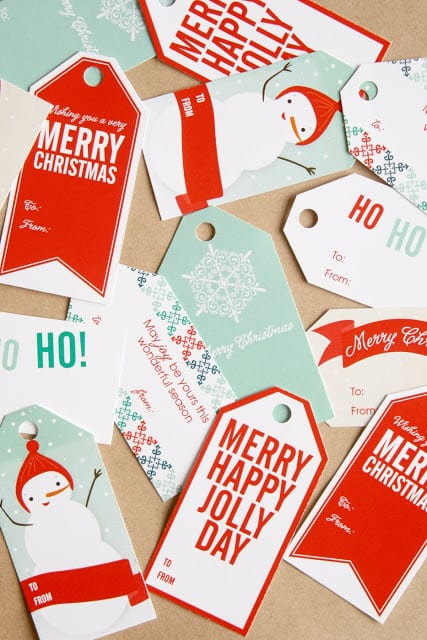 red and blue christmas gift tags