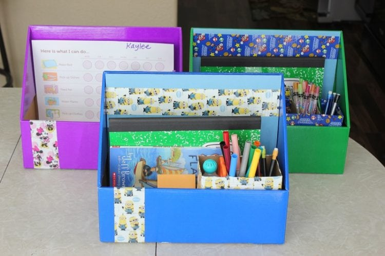 cardboard file boxes decorated