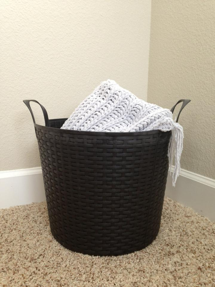 basket with throw blanket