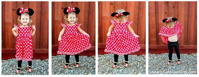 homemade minnie mouse costume with a darling knit fabric.