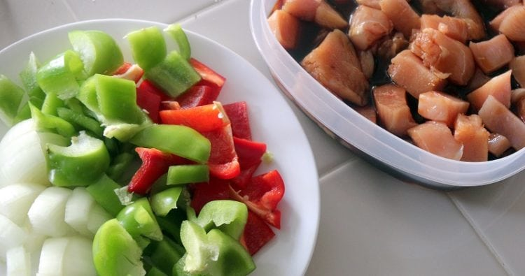marinated chicken and chopped peppers