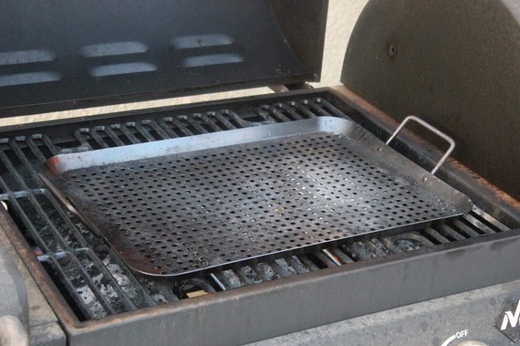 grill pan on bbq grill
