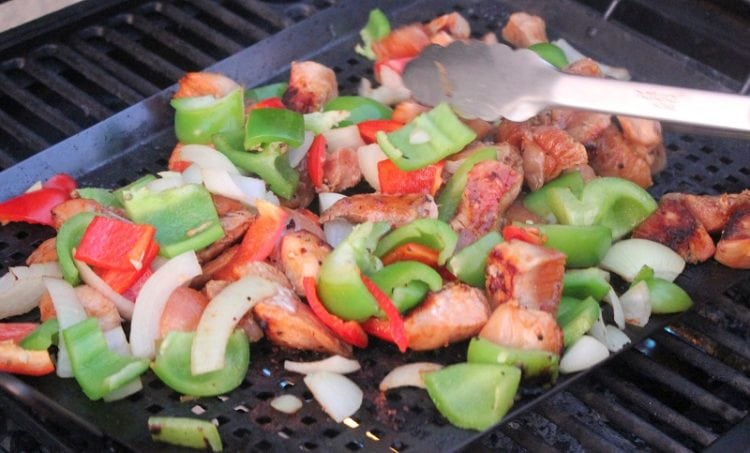 chicken and peppers on grill