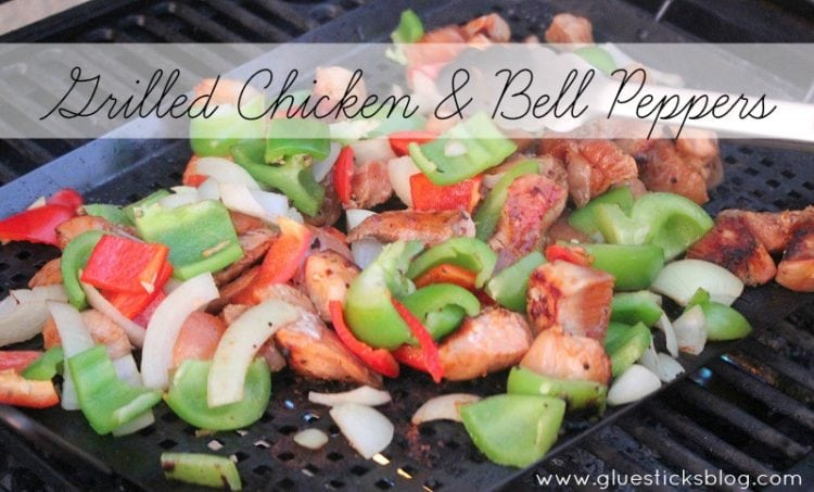 chopped chicken and peppers on grill