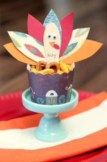 turkey place card cup on small stand