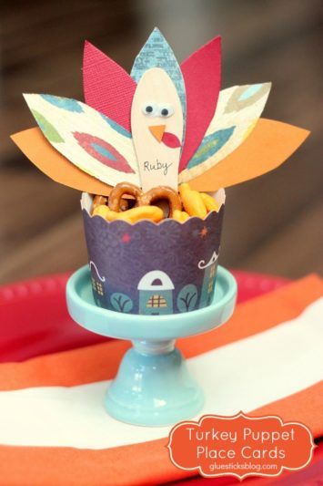 turkey place card in cup of snacks