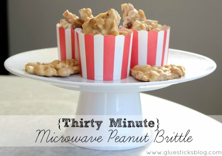 small cups of peanut brittle