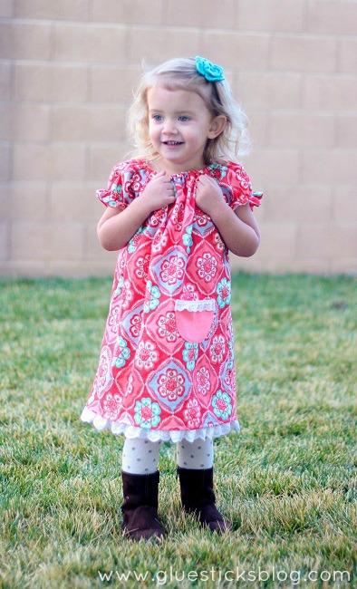 little girl in peasant dress