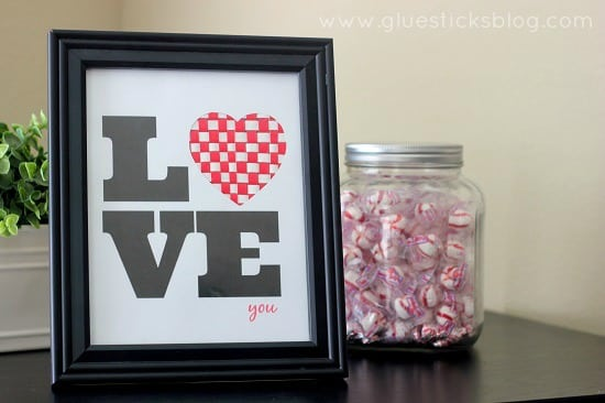 duct tape love sign in black frame