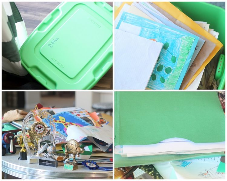 totes with keepsakes and stacks of papers