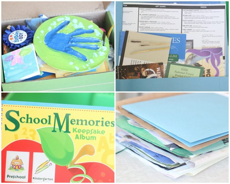 collage of childhood crafts and school projects