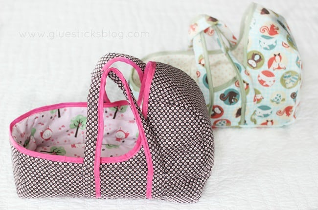 Every little girl's dream! A darling little place for her baby doll to sleep. This baby doll basket pattern comes in 3 sizes, includes padded handles, a pillow and blanket, and easy-to-follow instructions.