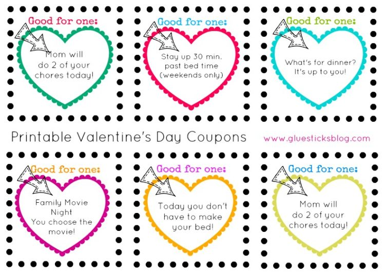 Printable Valentines Day Coupons for Kids Printed or Blank – Valentines Day Coupon