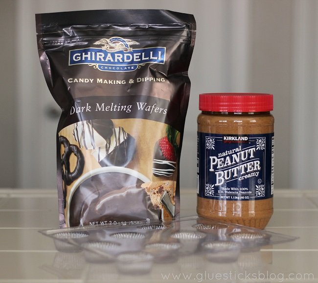 bag of melting chocolates and jar of peanut butter
