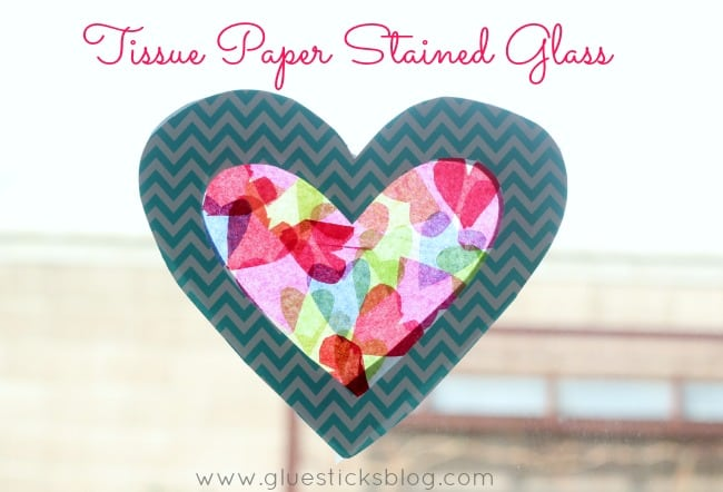 heart tissue paper sun catcher
