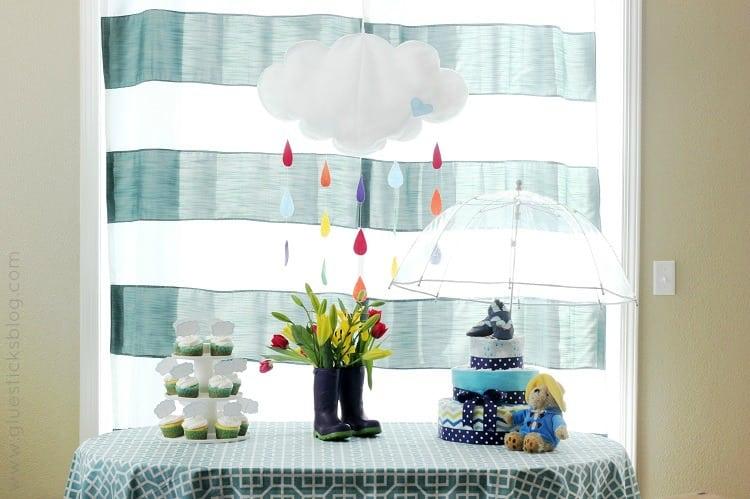 April Showers Baby Shower tablescape