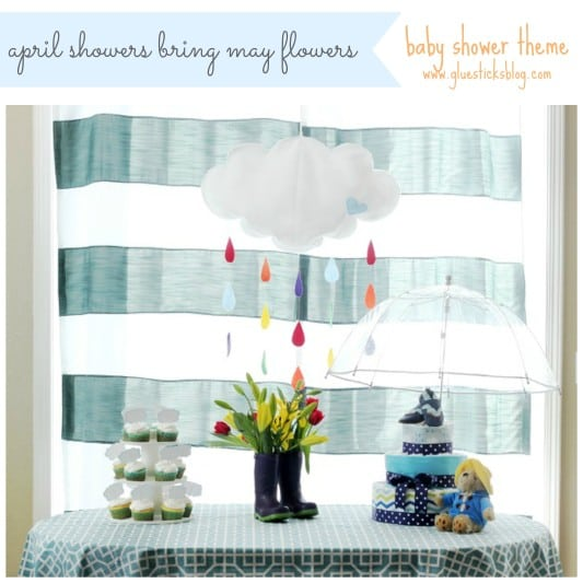 April showers baby shower table