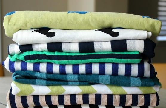 stack of knit fabrics