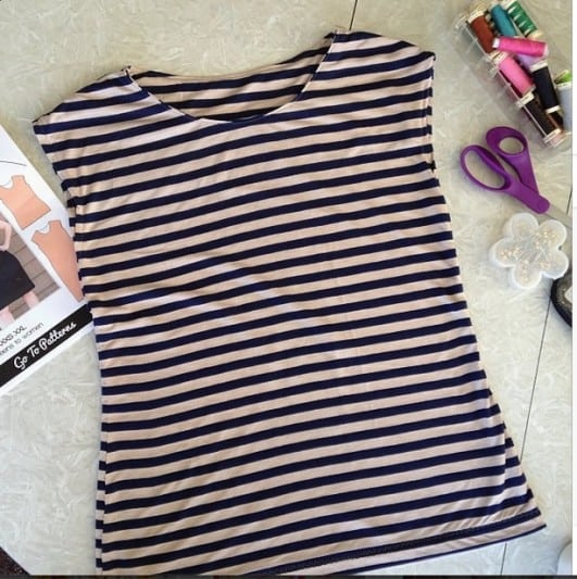 black and white striped knit shirt