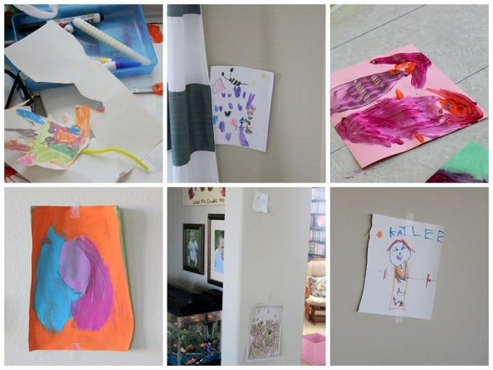 kids art on walls