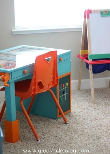 kids art desk with orange chair