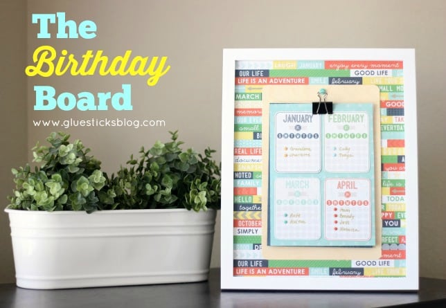 The Birthday Board: Framed list of family member's birthdays!