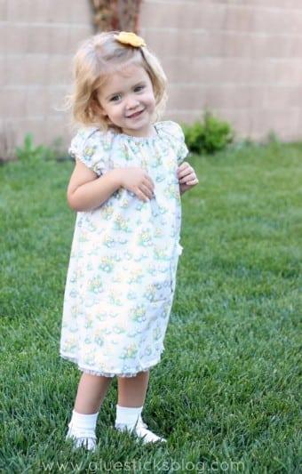 little girl in spring peasant dress