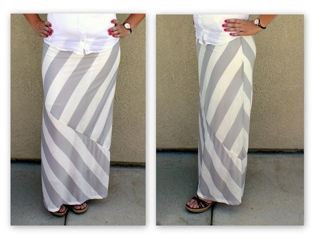 Make mismatched striped maxi skirt for summer! Comfortable, feminine, and a quick and easy sewing project. Includes a link to the maxi skirt pattern and step by step instructions.