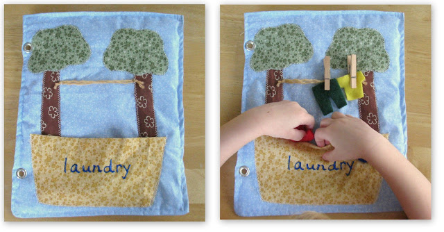 clothesline and hamper laundry quiet book page