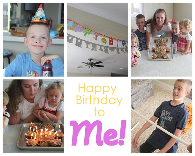 collage of mom and kids at birthday