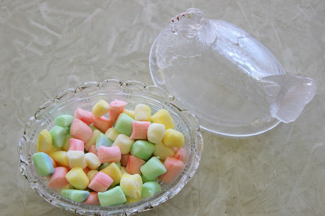 pastel butter mints in candy dish