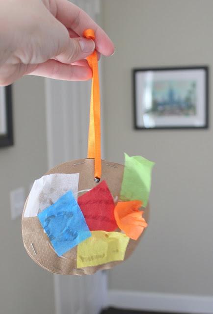 brown bag and tissue paper piñata