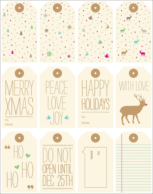 pastel christmas gift tags free