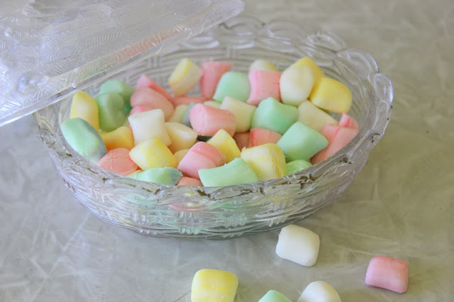 butter mints in dish and on table