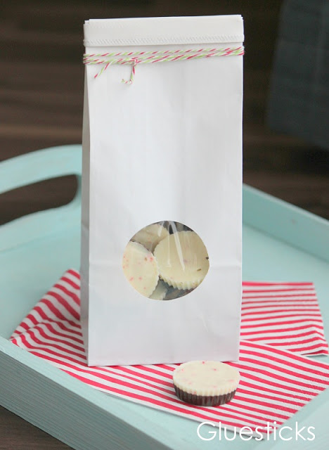chocolate pepper mint cups inside treat bag