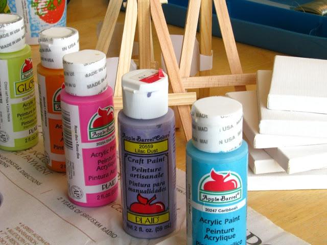 bottles of acrylic paint