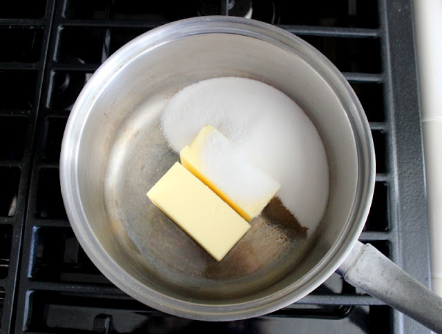 sauce pan with two sticks of butter, sugar and vanilla