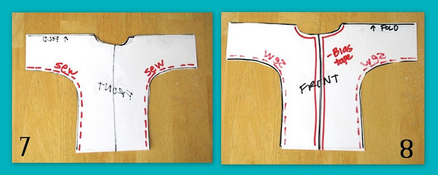 template showing how to cut down front of robe to create opening