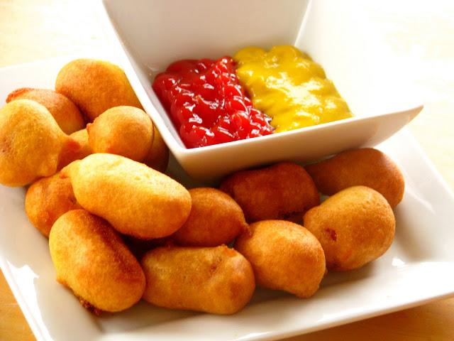 platter of mini corn dogs