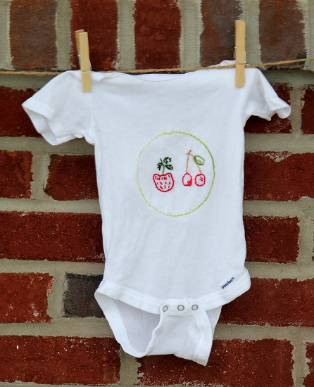 fruit embroidered onesie